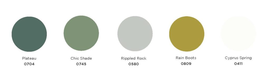 Color swatches of  0704 Plateau, 0745 Chic Shade, 0580 Rippled Rock, 0809 Rain Boots, and 0411 Cyprus Spring.